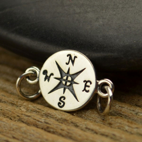 Sterling Silver Charm Links - Compass 10x16mm