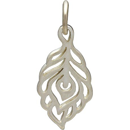 Sterling Silver Peacock Feather Charm - Tiny 20x8mm