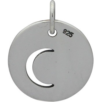 Sterling Silver Circle Charm with Moon Cutout 16x12mm