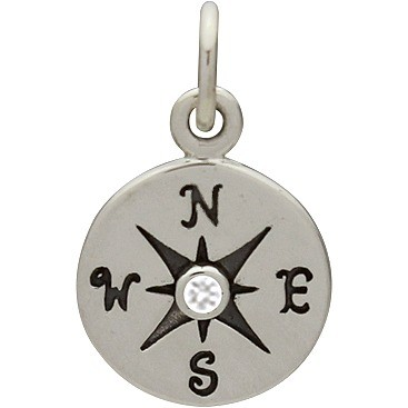 Sterling Silver Compass Charm with Geniune Diamond