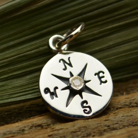 Sterling Silver Compass Charm with Geniune Diamond 16x10mm