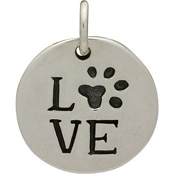 Sterling Silver Word Charm -Round LOVE with Pawprint 16x13mm