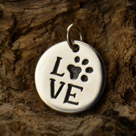 Sterling Silver Word Charm - LOVE with Pawprint - Round
