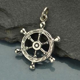 Sterling Silver Ship's Wheel Charm - Beach Charm 24x17mm
