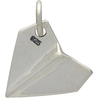 Sterling Silver Paper Airplane Charm 15x11mm