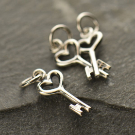 Sterling Silver Heart Key Charm - Tiny 18x6mm