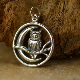 Sterling Silver Moon Charm with Owl - Openwork