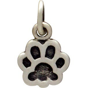 Sterling Silver Dog Paw Print Charm - Etched 13x8mm