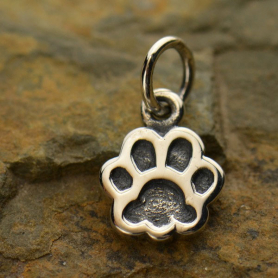Sterling Silver Dog Paw Print Charm - Etched