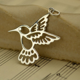 Sterling Silver Hummingbird Charm - Large