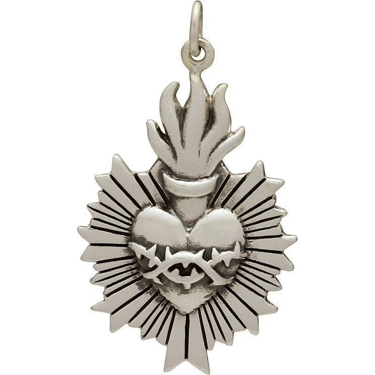 Sterling Silver Flaming Sacred Heart Pendant 33x19mm