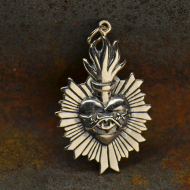 Sterling Silver Flaming Sacred Heart Pendant