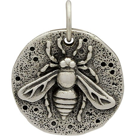 Sterling Silver Ancient Coin Charm - Bee 19x16mm