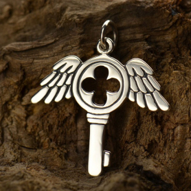 Sterling Silver Winged Key Charm DISCONTINUED