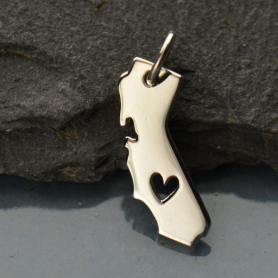 Sterling Silver State Charm - California State with Heart
