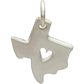 Sterling Silver State Charm - Texas State with Heart 15x11mm