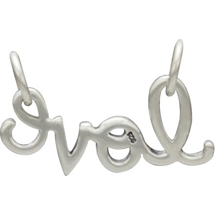 Jewelry Supplies - Cursive Love Pendant Silver Link 9x17mm