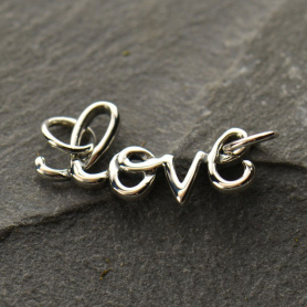 Jewelry Supplies - Cursive Love Pendant Silver Link