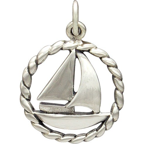 Sterling Silver Sailboat Charm - Beach Charm 21x15mm