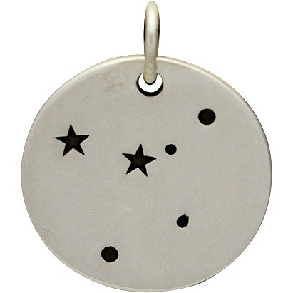 Sterling Silver Zodiac Charms - Constellation Cancer 18x15mm