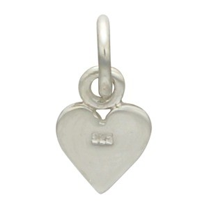 Sterling Silver Tiny Heart Charm - Card Suit 12x6mm