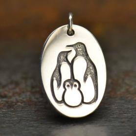 Sterling Silver Penguin Family Charm