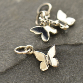 Sterling Silver Butterfly Charm - Tiny