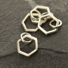 Sterling Silver Single Honeycomb Charm 12x8mm