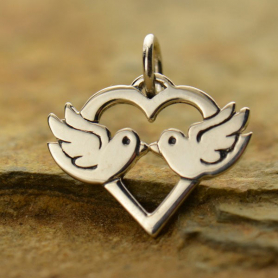 Silver Love Birds Charm - Animal Charms DISCONTINUED