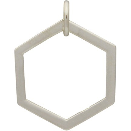 Sterling Silver Single Honeycomb Charm -18mm