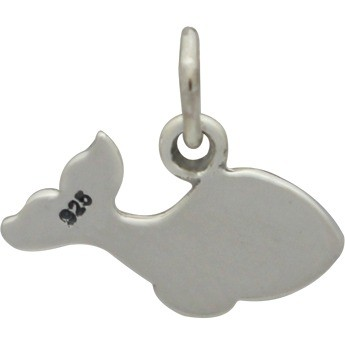 Sterling Silver Whale Charm - Animal Charm 12x14mm