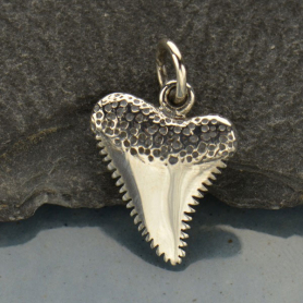 Sterling Silver Shark Tooth Charm - Beach Charm -18mm