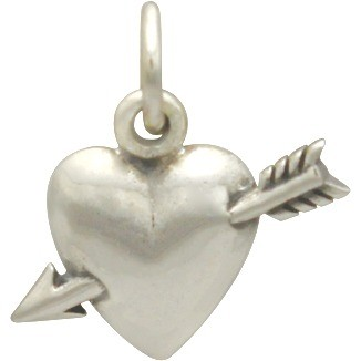 Sterling Silver Heart Charm with Arrow 14x14mm
