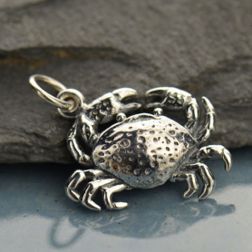 Sterling Silver Crab Charm Beach Charm 14x16mm