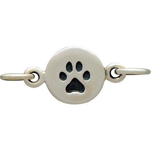 Sterling Silver Charm Link - Paw Print 8x13mm