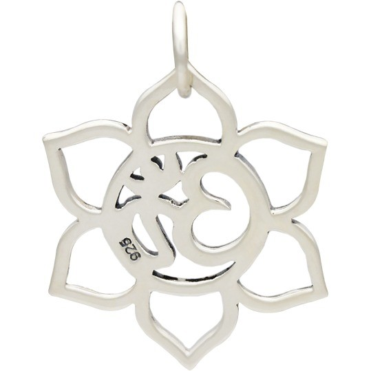 Small Sterling Silver Lotus Charm with Om - Openwork 24x17mm