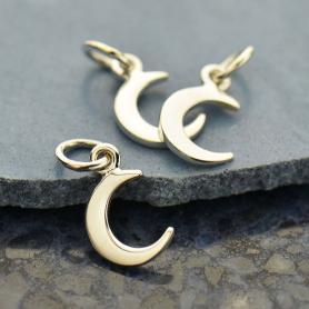 Sterling Silver Crescent Moon Charm - Tiny 14x7mm
