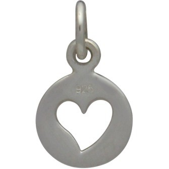 Sterling Silver Tiny Round Charm with Heart Cutout 14x8mm