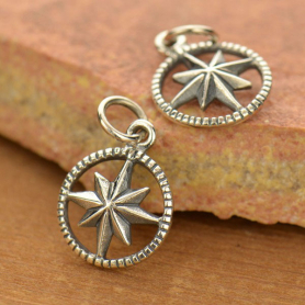 Sterling Silver Compass Charm in Circle Frame