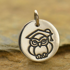 Sterling Silver Graduation Owl Charm 16x13mm