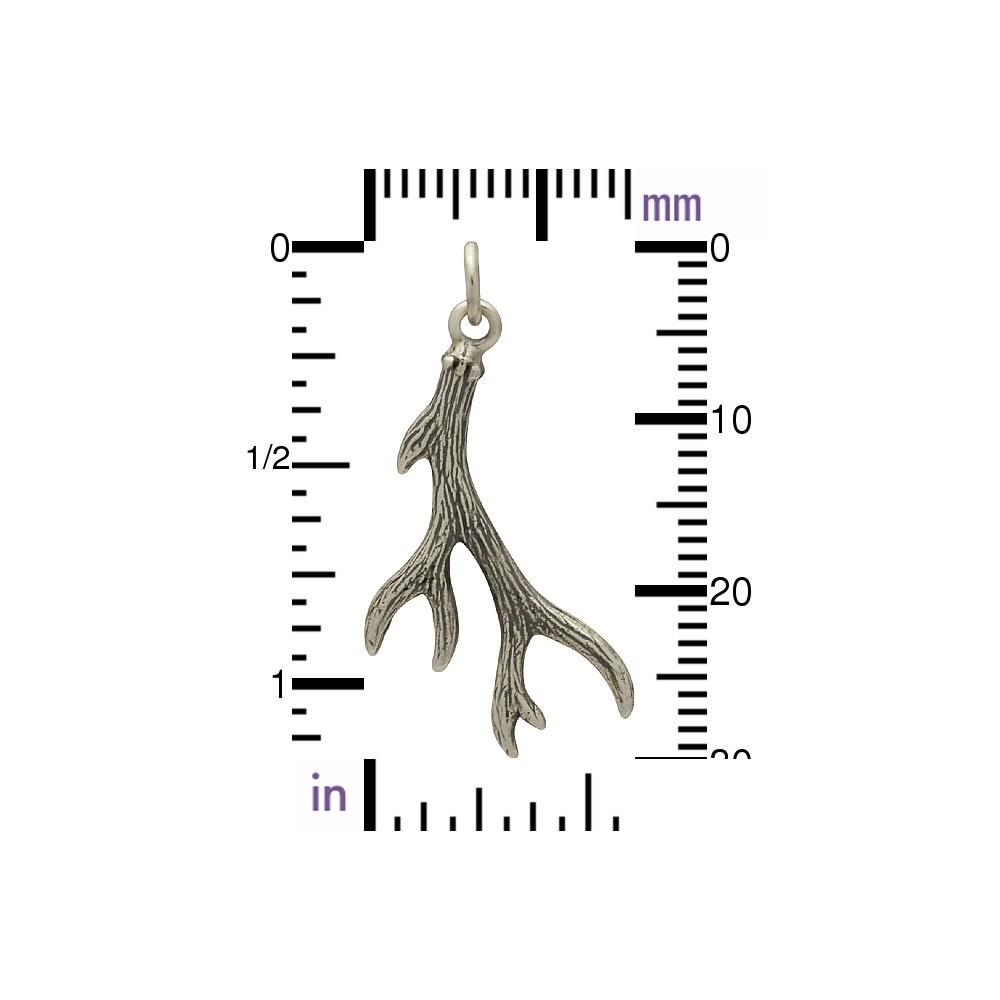 Sterling Silver Small Deer Antler Charm 30x16mm