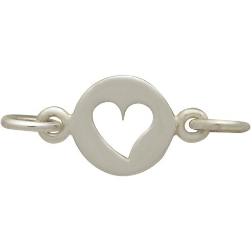 Sterling Silver Heart Cutout Charm Link 10x14mm