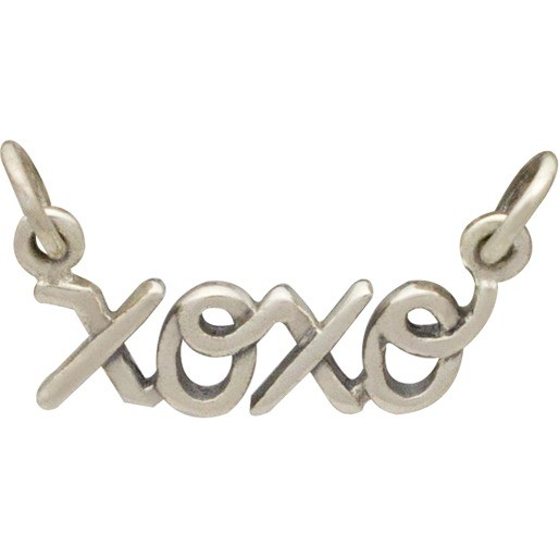 Jewelry Supplies - Cursive XOXO Pendant Silver Link 12x21mm