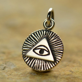 Sterling Silver All-Seeing Eye Charm 16x10mm