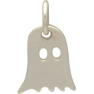 Sterling Silver Ghost Charm - Halloween Charm 13x8mm