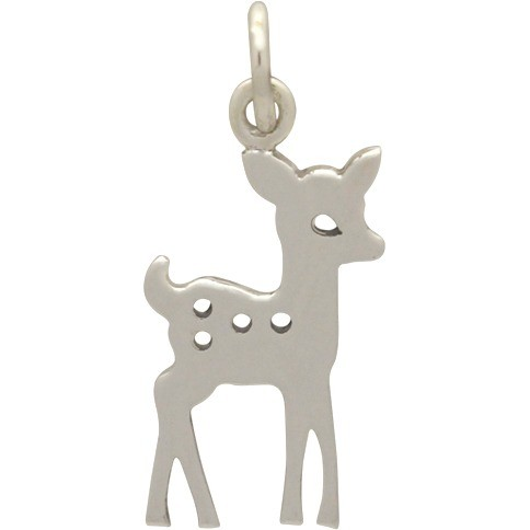 Sterling Silver Fawn Charm - Christmas Charms 21x10mm