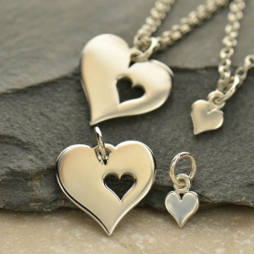 Sterling Silver Heart Charm with Heart Cutout and Heart Set