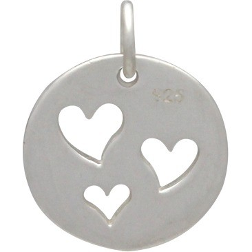 Sterling Silver Round Charm with Three Heart Cutouts 16x12mm