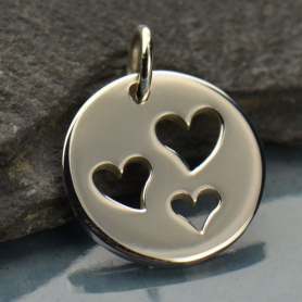 Sterling Silver Round Charm with Three Heart Cutouts