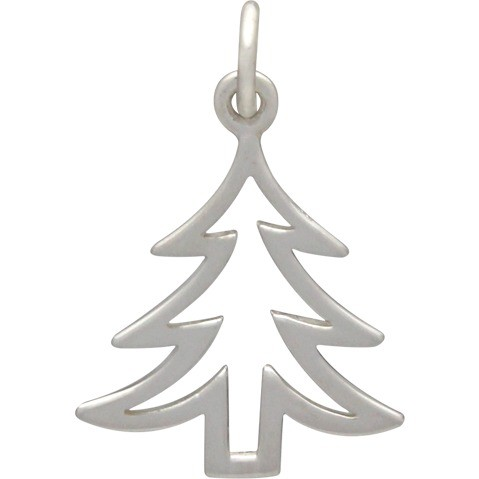 Sterling Silver Christmas Tree Charm - Flat
